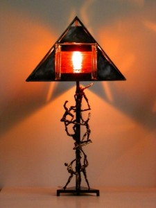 Amber glass, Pyramid Sculptured Table Lamp