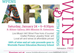 WPENS Art & Wine with Friends Fundraiser-Saturday January 24, 6 – 8:30 pm